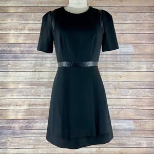 Milly Leather Trim Short Sleeve Black Mini Dress